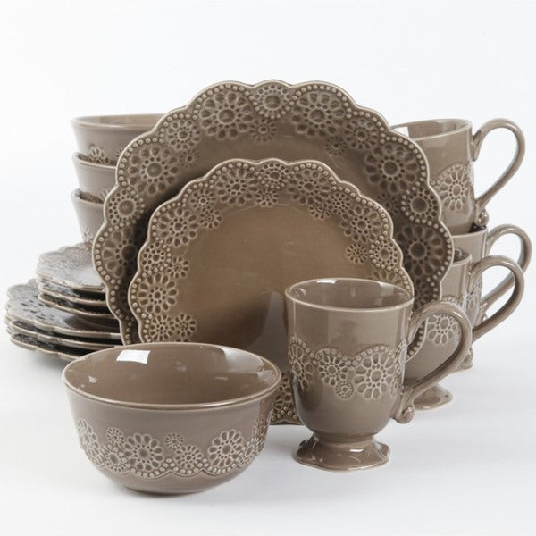 Shop Gibson Elite Eyelet Lace 16 Piece Brown Dinnerware