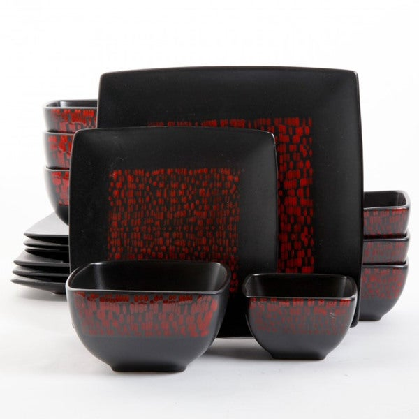 Gibson elite modo 16 piece red black double bowl - Black and red dinnerware sets ...