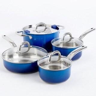 Gibson Simplemente Delicioso Arte Blue Gourmet 8-piece Cookware Set