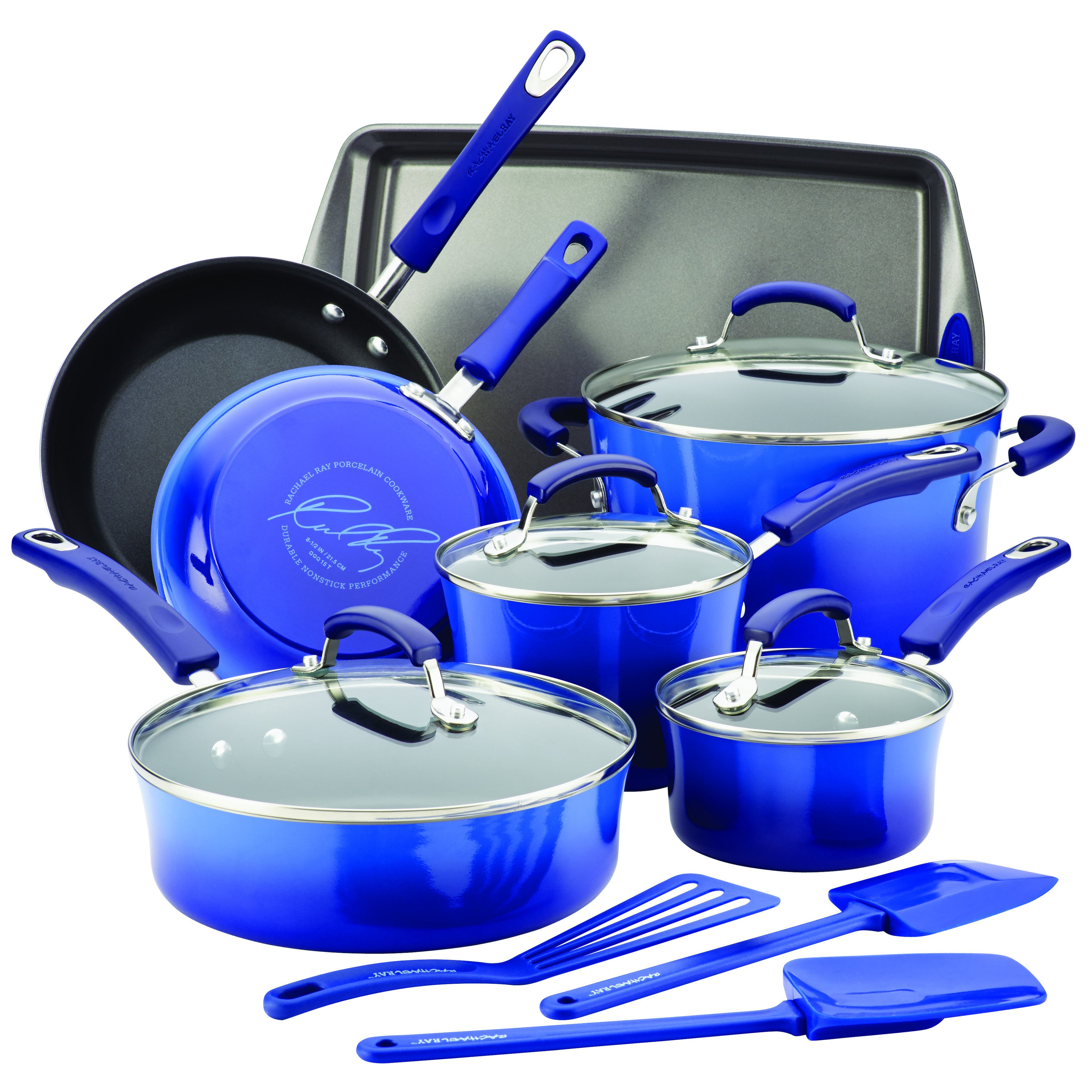 Rachael Ray Cookware 14-Piece Set Hard Enamel Nonstick