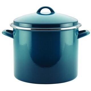 Rachael Ray Enamel on Steel 12-Quart Covered Stockpot, Marine Blue