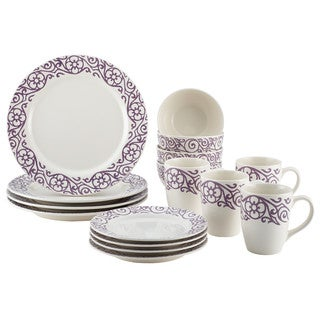 Rachael Ray Dinnerware 16-Piece Scroll Stoneware Dinnerware Set, Lavender