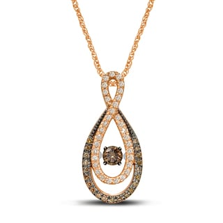Unending Love 10k Rose Gold 2/5ct TDW Brown and White Diamond Infinity Pendant (I-J, I2-I3)