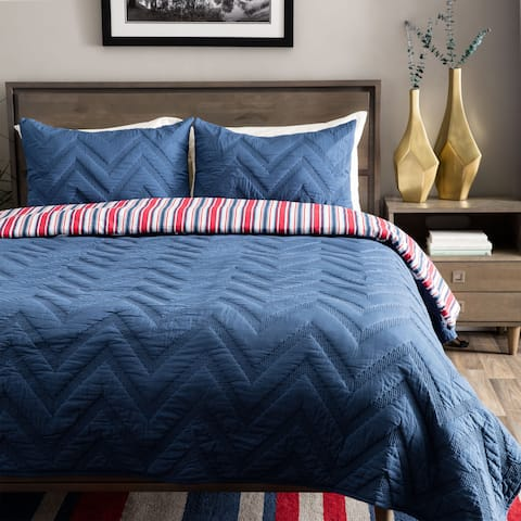 Andrew Charles All American Collection Navy Chevron Pattern Cotton Quilt