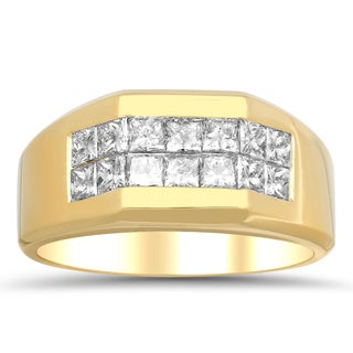 Artistry Collections 14k Yellow Gold Men's 1 3/4ct TDW Diamond 2-row Ring (E-F, VS1-VS2)