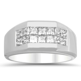 Artistry Collections 14k White Gold Men's 1 3/4ct TDW Diamond 2-row Invisible-set Ring (E-F, VS1-VS2)