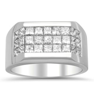 Artistry Collections 14k White Gold Men's 2 4/5ct TDW Diamond 3-row Ring (E-F, VS1-VS2)
