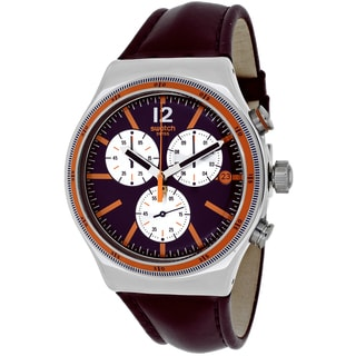 Swatch Men's YVS413 Prisoner Round Purple Leather Strap Watch