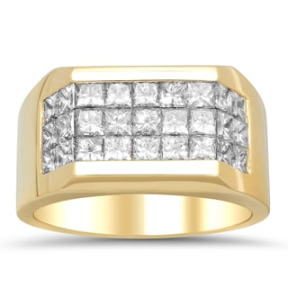 Artistry Collections 14k Yellow Gold Men's 2 4/5ct TDW Diamond 3-row Ring (E-F, VS1-VS2)