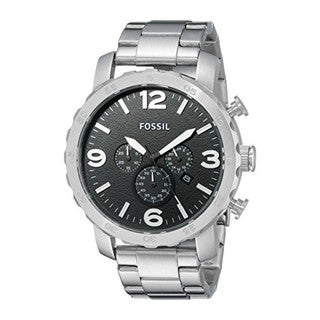 Fossil Stainless Steel Men's 'Nate' Black Dial Chronograph Watch