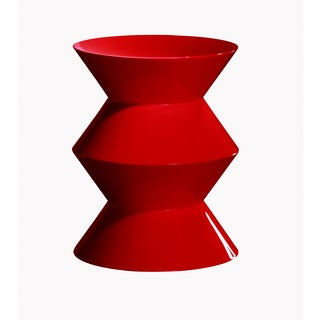 Sebo Wood and Red Lacquer Contemporary Stool