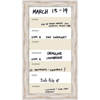Alexandria Whitewash Vertical Dry-Erase Beige Week Calendar' Message Board 15 x 27-inch