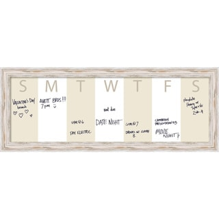 Alexandria Whitewash Horizontal Dry-Erase Beige Week Calendar' Message Board 39 x 15-inch