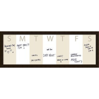 Coffee Horizontal Dry-Erase Beige Week Calendar' Message Board 38 x 14-inch