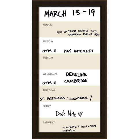 Coffee Vertical Dry-Erase Beige Week Calendar' Message Board 14 x 26-inch - 14 x 26