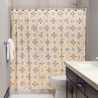 """Andrew Charles Atlas Collection 72"""" Gold/Grey Shower Curtain"""