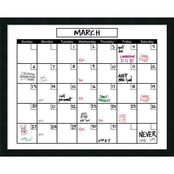 Mezzanotte White Dry-Erase Calendar' Message Board 30 x 24-inch