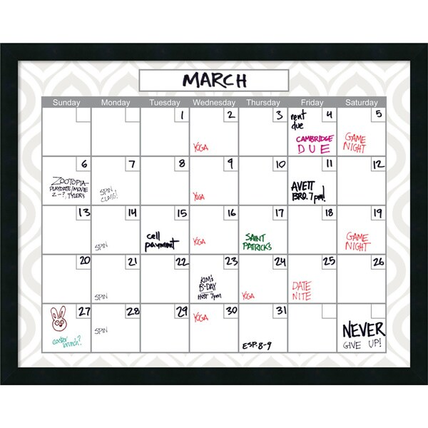Mezzanotte Peacock Dry-Erase Calendar' Message Board 30 x 24-inch