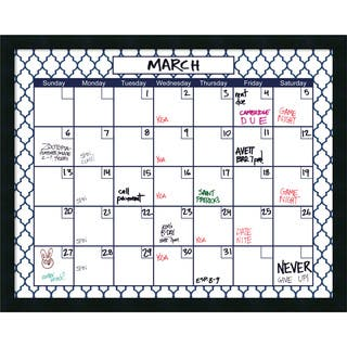Mezzanotte Blue Quatrefoil Dry-Erase Calendar' Message Board 30 x 24-inch|https://ak1.ostkcdn.com/images/products/11390985/P18358232.jpg?impolicy=medium
