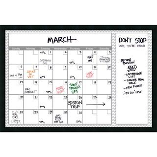 Mezzanotte Gray Chevron 36 x 24 Dry-Erase Calendar' Message Board 38 x 26-inch