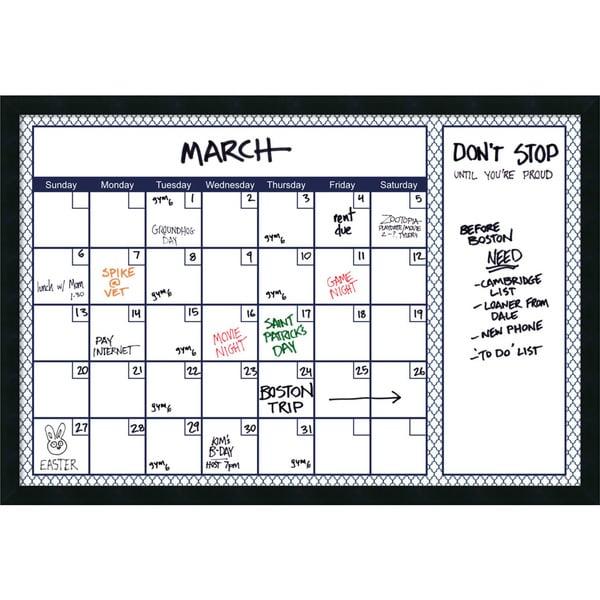 Dry Erase Calendar Staples : Mezzanotte blue quatrefoil dry erase calendar message
