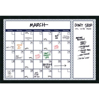 Mezzanotte Blue Quatrefoil Dry-Erase Calendar' Message Board 38 x 26-inch