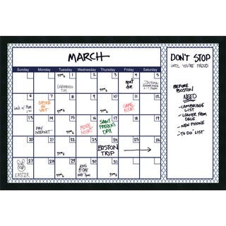 Mezzanotte Blue Quatrefoil Dry-Erase Calendar' Message Board 38 x 26-inch|https://ak1.ostkcdn.com/images/products/11390991/P18358236.jpg?impolicy=medium