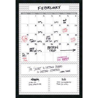Mezzanotte Gray Chevron Big Dry-Erase Calendar' Message Board 6 x 38-inch