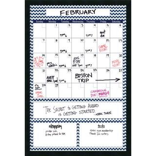 Mezzanotte Blue Chevron Big Dry-Erase Calendar' Message Board 26 x 38-inch