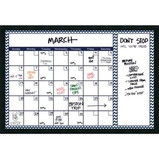 Mezzanotte Blue Chevron 36 x 24 Dry-Erase Calendar' Message Board 38 x 26-inch