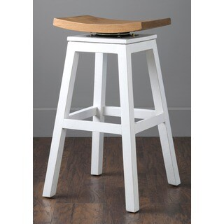 Crafted Home Aiden White Saddle Back Barstool