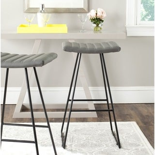 Safavieh Mid-Century Dining Akito Modern Grey 30-inch Bar Stool (Set of 2)