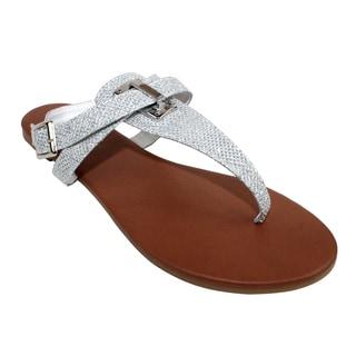 Olivia Miller 'Verona' Shimmer Criss Cross Buckle Sandals