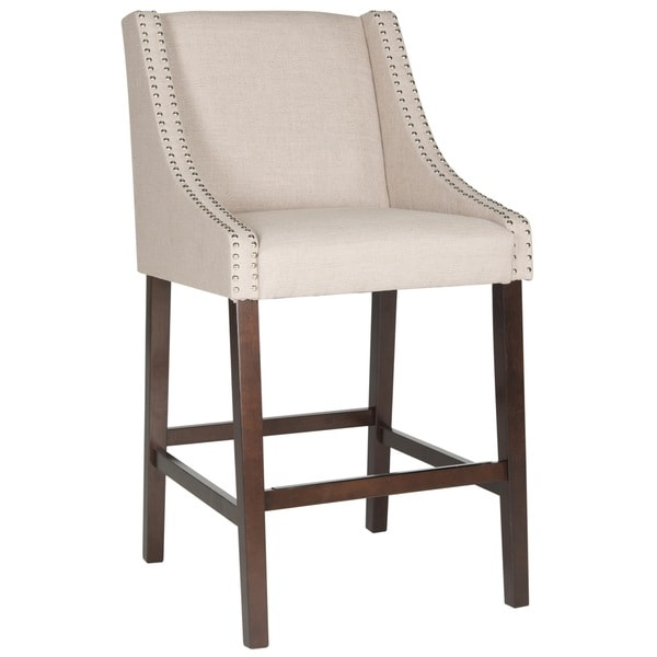 Leather counter stool set of 2 ivory contemporary bar stools - Safavieh Dylan Taupe Barstool Free Shipping Today