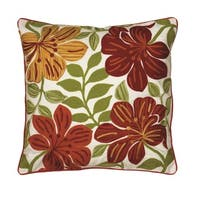 Rizzy Home Embroidered and Appliqued Floral Patterned 18-inch Throw Pillow