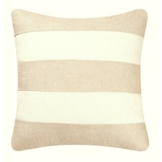 Linen/White Stripes 17x17 Throw Pillow