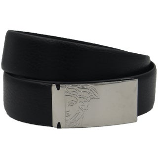 Versace Men's Black Pebbled Leather Medusa Belt