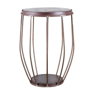 Steel and Mango Barrel Side Table