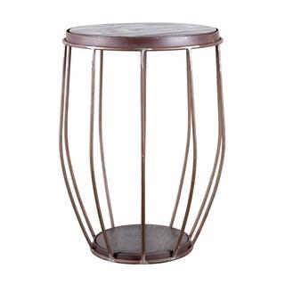 Handmade Steel and Mango Barrel Side Table (India)