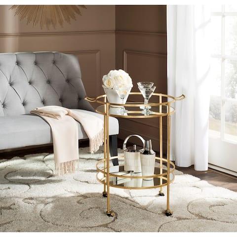 """Safavieh Lavinia Gold/ Mirror Top Bar Cart - 25.5"""" x 20"""" x 30"""""""