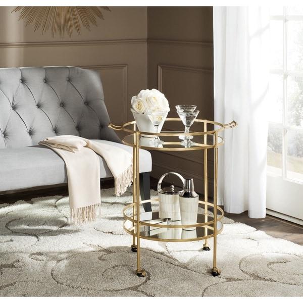 Safavieh Lavinia Gold Mirror Top Bar Cart