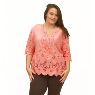 La Cera Women's Plus Size 3/4 Eyelet Lace Top