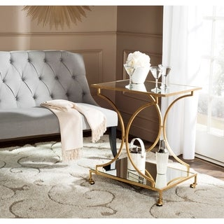 Safavieh Ignatius Gold/ Mirror Top Bar Cart