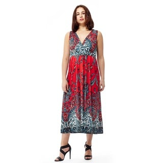 La Cera Women's Sleeveless Printed Long Dress