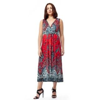 La Cera Women's Sleeveless Printed Long Dress