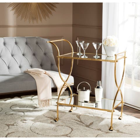 """Safavieh Lucretius Gold/ Mirror Top Bar Cart - 33.5"""" x 20.1"""" x 38.6"""""""