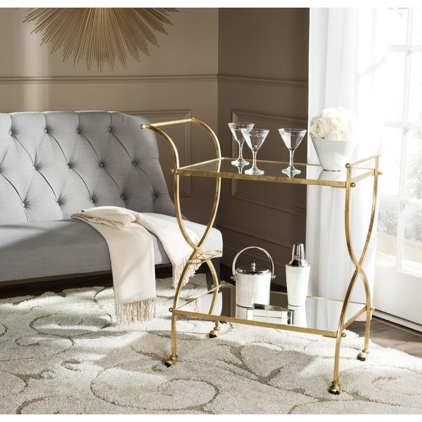 Safavieh Lucretius Gold Mirror Top Bar Cart