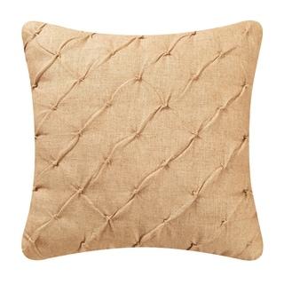 Diamond Tuck Camel Feather Down 17x17 Throw Pillow