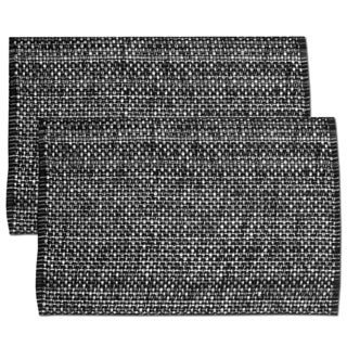 Black Cotton Two-tone Placemats (Set of 2, 4 or 6) (3 options available)