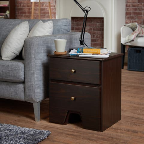 Furniture of America Tarnell Contemporary 2-drawer Espresso Side Table